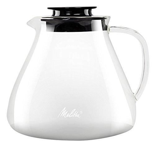 Melitta Jarra de cristal, Para preparación manual de café con portafiltros Pour Over, Asa antiquemaduras, 1L, Transparente