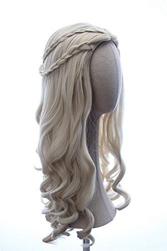 I TRUE ME Hair Women Girl's White Long Blonde Curly Queen Hair Halloween Cosplay Costume Wig