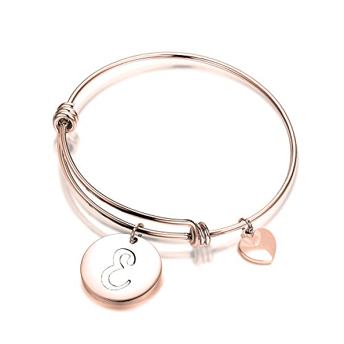 ENSIANTH Rose Gold Initial Bracelet Stainless Steel Letters Bangle Adjustable Bracelet with Heart Charm (Initials Stainless Steel Bracelet)