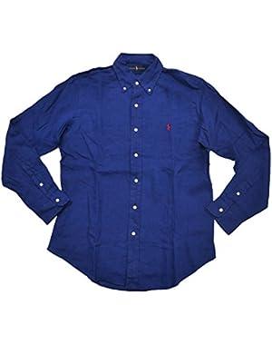 Men's Long Sleeve Linen Button Down Shirt