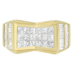 14K Yellow Gold Princess and Baguette Cut Diamond Men's Ring (3.64 cttw, G-H Color, VS2-SI1 Clarity)