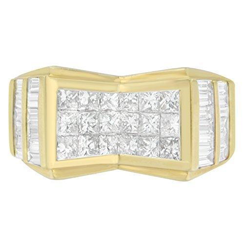14K Yellow Gold Princess and Baguette Cut Diamond Men's Ring (3.64 cttw, G-H Color, VS2-SI1 Clarity)
