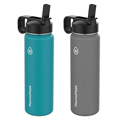 Water Pyramid Bottle - Thermoflask 24-Ounce Double Wall Vacuum Insulated Stainless Steel Water Bottles (Grey/Teal)