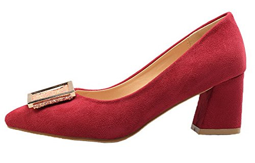 ccdf4935687034 AgooLar Damen Nubukleder Ziehen auf Schließen Zehe Mittler Absatz Pumps  Schuhe Rot ...