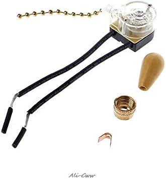 Ventilador de techo Lámpara de pared Lámpara de cabecera Reemplazo Cordón Interruptor de cadena Interruptor 3A / 250V 6A / 125V: Amazon.es: Bricolaje y herramientas