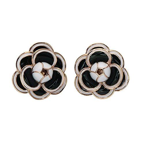 Designer Flowers Stud (MISASHA Camellia Black Flower Celebrity Designer Earrings For Women)
