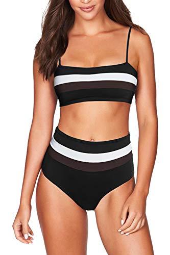 (Pink Queen Women's 2 Piece Bikini Set Bandeau Tube Top High Waisted Stripes Swimwear M Black)