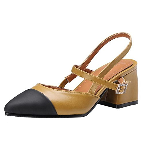 TAOFFEN Fashion Women Sandals Slingback Yellow Heels x76YZ