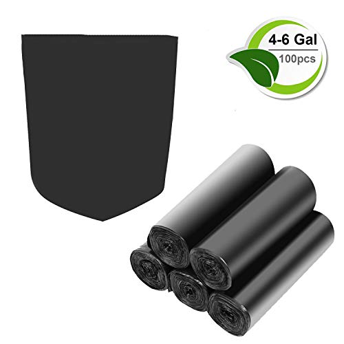 (4-6 Gallon Recycled Trash Bags Biodegradable Trash Bags Compostable Garbage bags Recycling bags Degradable Waste basket Liners Bags for Bathroom Kitchen Bedroom Living Room Office (Black, 100 Counts))