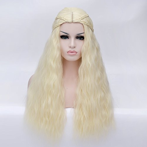 [Topwigy Women's Braid Long Curly Wave Hair Wigs Blonde Heat Resistant Wig Mother of Dragons Cosplay Wig 26