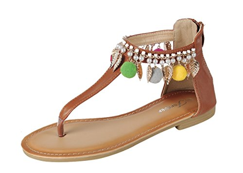 Kvinnor Forever Dev-5 Flip Flopecorated T-rem Gladiator Sandal Skor Tan Fest-7