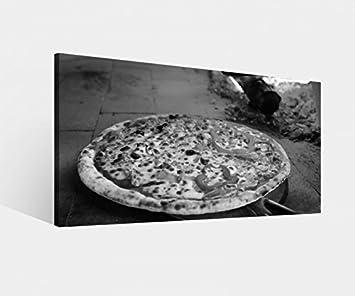 Leinwandbild Pizza Ofen Feuer Steinofen Flamme Küche schwarz weiß ...