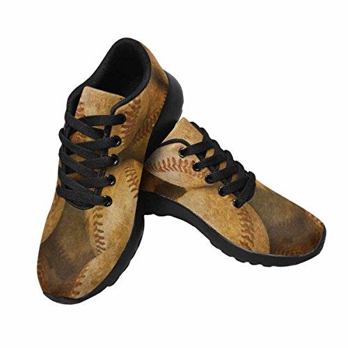 InterestPrint Womens Jogging Running Sneaker Lightweight Go Easy Walking Comfort Sports Running Shoes Aged Vintage Baseball Background Multi 1 diLfbVotoj