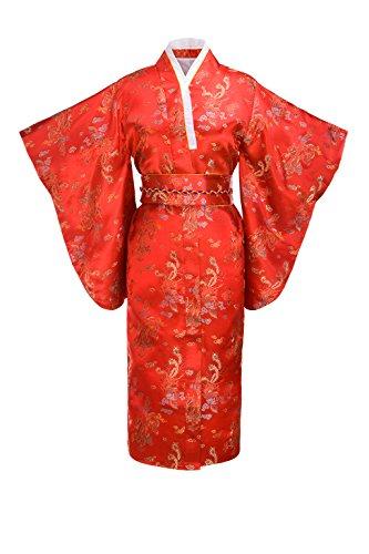Yukata Women's Gorgeous Japanese Traditional Brocade Dragon Print Kimono Robe, Red OS]()