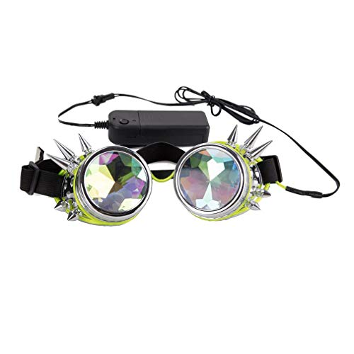 Spike Glowing Tube Steampunk Goggles Kaleidoscope Glasses Punk Gothic Cosplay with Remote Control ()