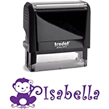 Personalized Kids Name Self Inking Stamp, Monkey, Custom Font, Customized with Name, Rubber Stamp, Naming Stamp, Children's Signature Stamper, School Book Label Child's Name, Kids Stamp (PURPLE)