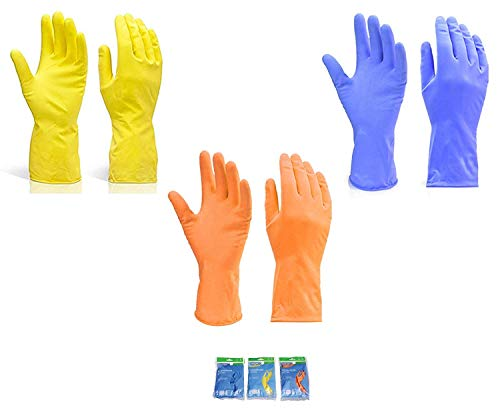 Kashi Surgicals Victor Cleaning Reusable Rubber Stretchable Hand Gloves – Assorted Colour (Large, Colour May Vary) – 3…