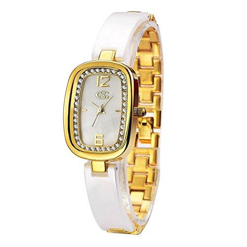 GEORGE SMITH Lady's 33 mm Luxury Rhinestone Ceramic Bracelet Wrist Watch for Women Girlfriend (Yellow Gold-Tone) Rectangular Womens Bracelets