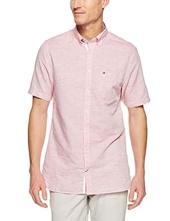 TOMMY HILFIGER Men's Engineered Cotton Linen Short Sleeve Shirt, Goji Berry/Bright White, X-Small