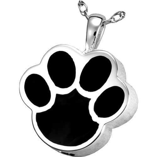 Memorial Gallery Pets 3127s Black Inlay Paw Print Sterling Silver Cremation Pet Jewelry by Memorial Gallery Pets
