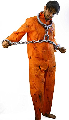 Halloween-Creepy-Scary-Convict-Zombie (5) ORANGE PRISONER BOILER SUIT, SHACKLES, BLOOD & MAKEUP - One Size Only.]()