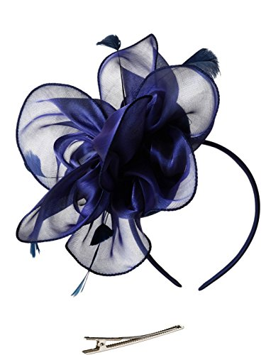 Fascinators Hat for Women Tea Party Headband Kentucky Derby Wedding Cocktail Flower Mesh Feathers Hair Clip (2-Bluish ()