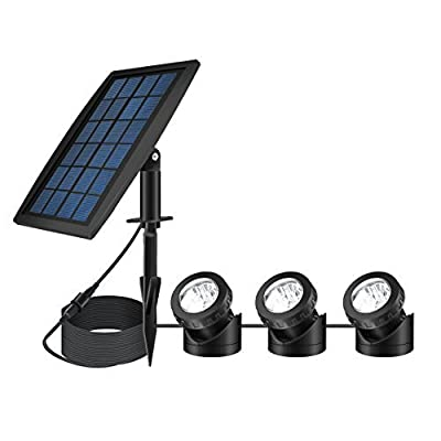 FEIFEIER Weatherproof Solar Powered Pure White Color LED Landscape Spotlight 3 Lamps Adjustable Lighting Angle Bright Security Lighting for Garden Pool Pond Outdoor Decoration