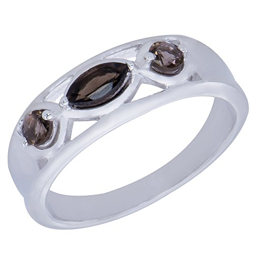 Caratera Womens Rings Elegant Genuine Natural Smoky Quartz Gemstone Sterling Silver Marquise Shapes 3 stone Jewelry Womens Ring ()