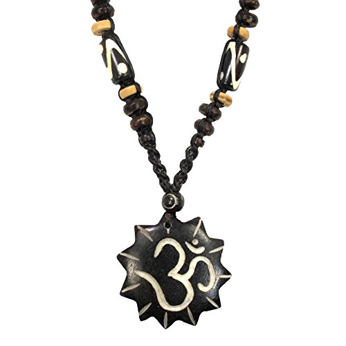 Om (Aum) Symbol Carved Bone Pendant on Premium Braided Cotton Necklace, New Age Spiritual Jewelry (Jewelry Age New)