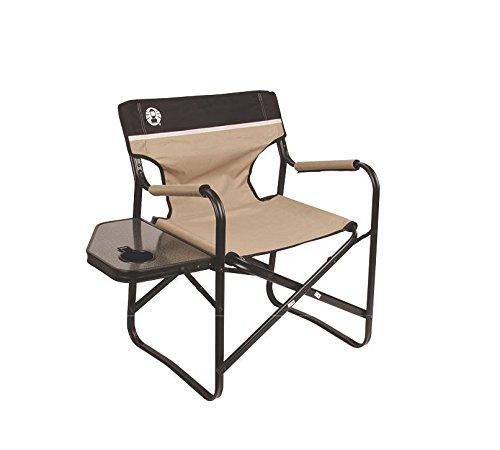 Coleman Portable Deck Chair with Side Table (Coleman Aluminum Camping Chair)