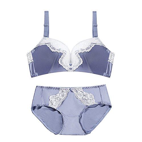 GFEI Summer Bra Set / pecho pequeño, delgado bajo gruesas, se reunieron sujetador de encaje, Deep V señoras ropa interior,Sido Que