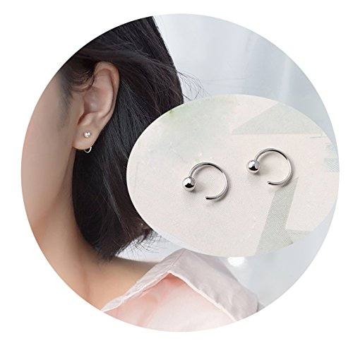 Ear Cuff Non-piercing Earring Sterling Silver High Polished Round Ball Studs Helix Cartilage Clip on Hoop Earrings for Women