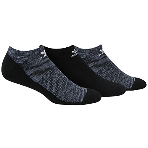 - adidas Men's Originals Cushioned No Show Socks (3 Pack), Black Space Print/Grey/Onix/White Space, Large