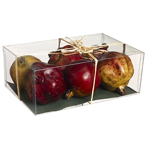 3.5''Hx6.5''Wx9.75''L Artificial Boxed Pomegranate -Assorted (pack of 6)
