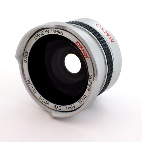 Zykkor 0.42x 37mm Titanium Super Wide Angle Fisheye Lens with Macro - Silver - Made in Japan by Zykkor