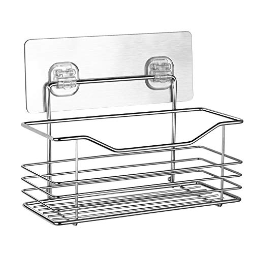 SPACEREST Adhesive Bathroom Shelf Organizer Shower Caddy Kitchen Storage Rack Wall Mounted No Drilling SUS304 Stainless Steel(8.5 x3.5 x 3.5 inches)