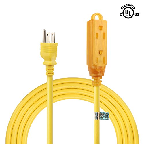 Supmart 10 Feet Power Extension Cord 3 Prong Indoor Outdoor 14/3 SJTW NEMA 5-15 14 AWG Power Extension Cable Cord Yellow - 125 Volts at 15 Amp 1875Watt UL - Outlet Stores Seaside