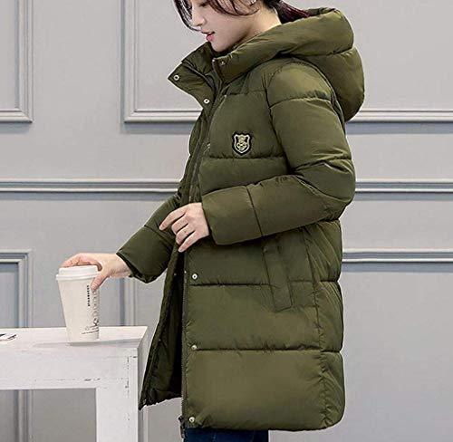 Manga Laterales Capucha Moda Botón Mujer De Cremallera Armeegrün Abrigo Capa con Modernas Estilo Unicolor con Invierno Abrigos Moderno Bolsillos Larga Plumas Transición 7qzxg