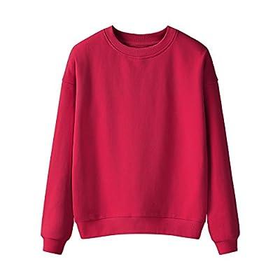 Malilove Et Lâche Long Sleeve Tops Femme T-Shirt Tous Les Loisirs D'Hiver-Match Avec Manteau En Cachemire M Rouge (Routine)