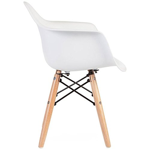 2xhome - White - Kids Size Eames Armchair Eames Chair White Seat Natural Wood Wooden Legs Eiffel Childrens Room Chairs Molded Plastic Seat Dowel Leg by 2xhome (Image #3)
