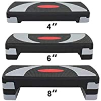 "HomGarden 31"" Adjustable Workout Aerobic Stepper in Fitness & Exercise Step Platform Trainer Stepper w/Risers Adjust 4"" - 6"" - 8"" (Set of 1)"