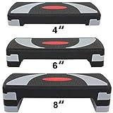 """HomGarden 31"""" Adjustable Workout Aerobic Stepper in Fitness & Exercise Step Platform Trainer Stepper w/Risers Adjust"""