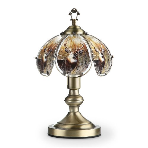 14.25''h Glass Whitetail Deer Theme Antique Bronze Base Touch Lamp by OK Lighting