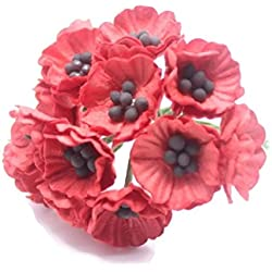 ChangThai Design RED 50 Mulberry Paper Poppy Flower Wedding Card Craft 2 cm.