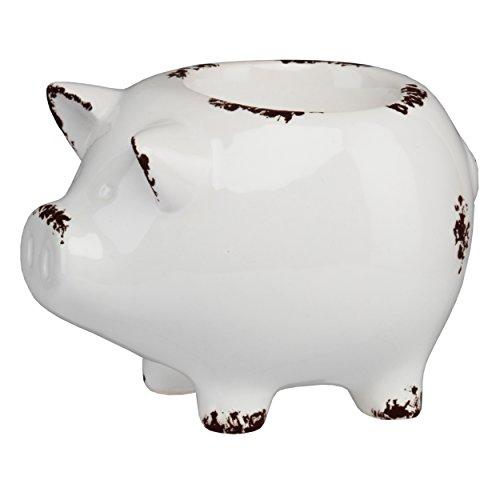 PRINZ Farmhouse Pig Tea Light Holder, White (Holder Pig)