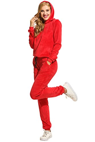 HOTOUCH Women's Sweatsuit Set Velour Long Sleeve Hoodie and Pants Sport Sweat Suits 2 Piece Tracksuits Outfits S-XXXL