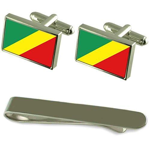 Boutons de manchette argent drapeau au Congo-Brazzaville un Ensemble cadeau Cravate