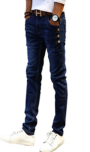 Button Fly Blue Jeans (Men's Men's Skinny Fit Jeans with Button Deco Blue 30)