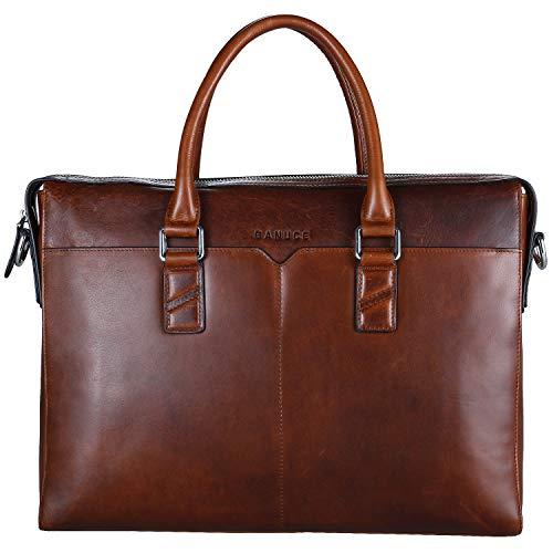 Banuce Vintage Full Grain Oil-Waxed Leather Briefcase for Men Slim 2way Business Laptop Messenger Bag Tote Attache Case
