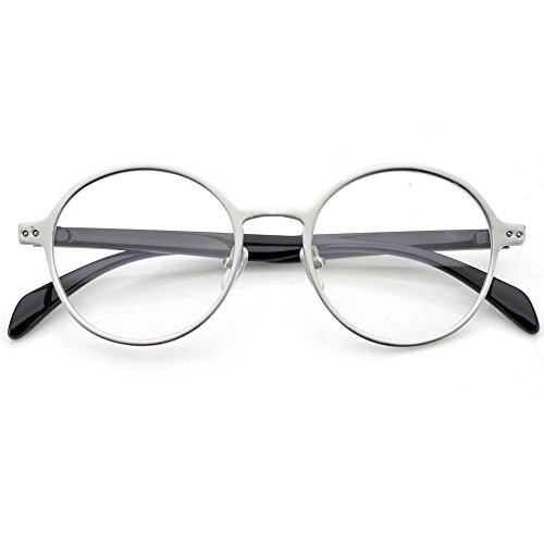 PenSee Oval Round Circle Eye Glasses Large Oversized Metal Frame Clear - Eyeglasses Round